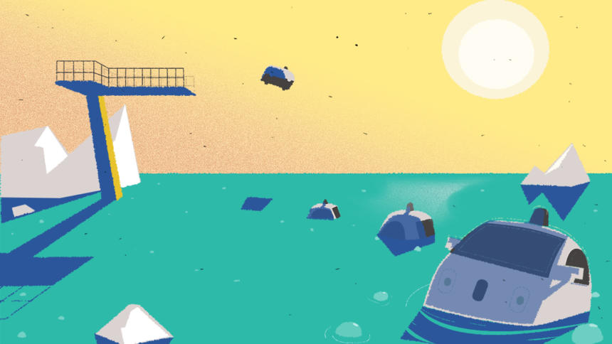 Selbstfahrende Autos steuern in den Klima-Eisberg