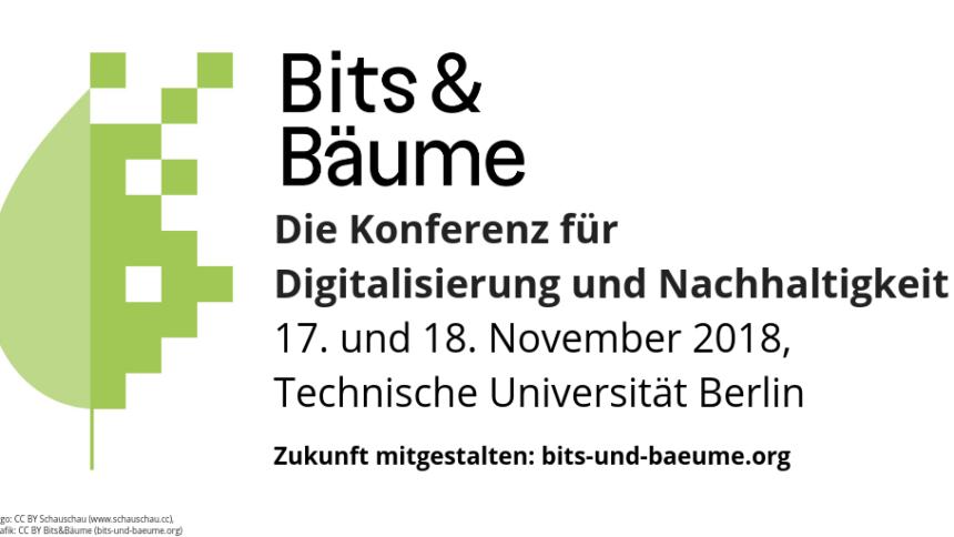 """Logo der Konferenz """"Bits & Bäume"""": Ein Blatt, das sich rechts in Pixel auflöst"""