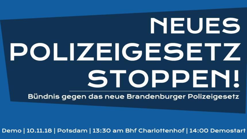 Banner in Blautönen mit dem Aufruf zur Demo gegen das neue Polizeigesetz