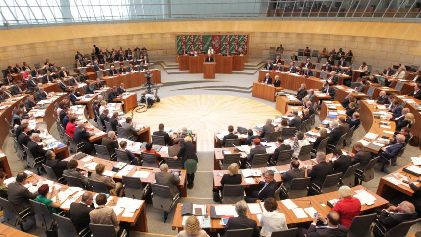 Der Plenarsaal des Landtags Nordrhein-Westfalen.