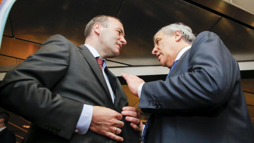 Spitzenkandidat Manfred Weber und Parlamentspresident Antonio Tajani