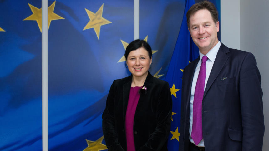 EU-Kommissarin Vera Jourova und Facebook-Cheflobbyist Nick Clegg