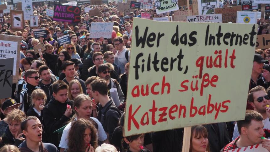 Protestschild mit Text : Wer das internet filtert, quält auch süße Katzenbabys