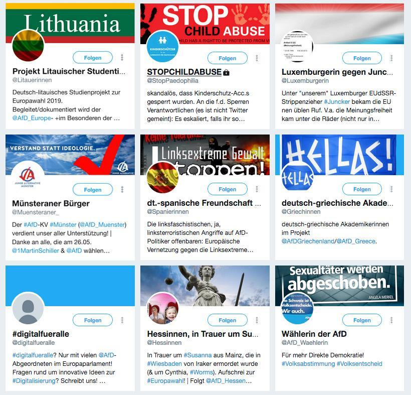 Screenhsot von Twitter-Accounts