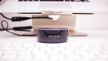 Alexa Amazon steht vor einem Computer.