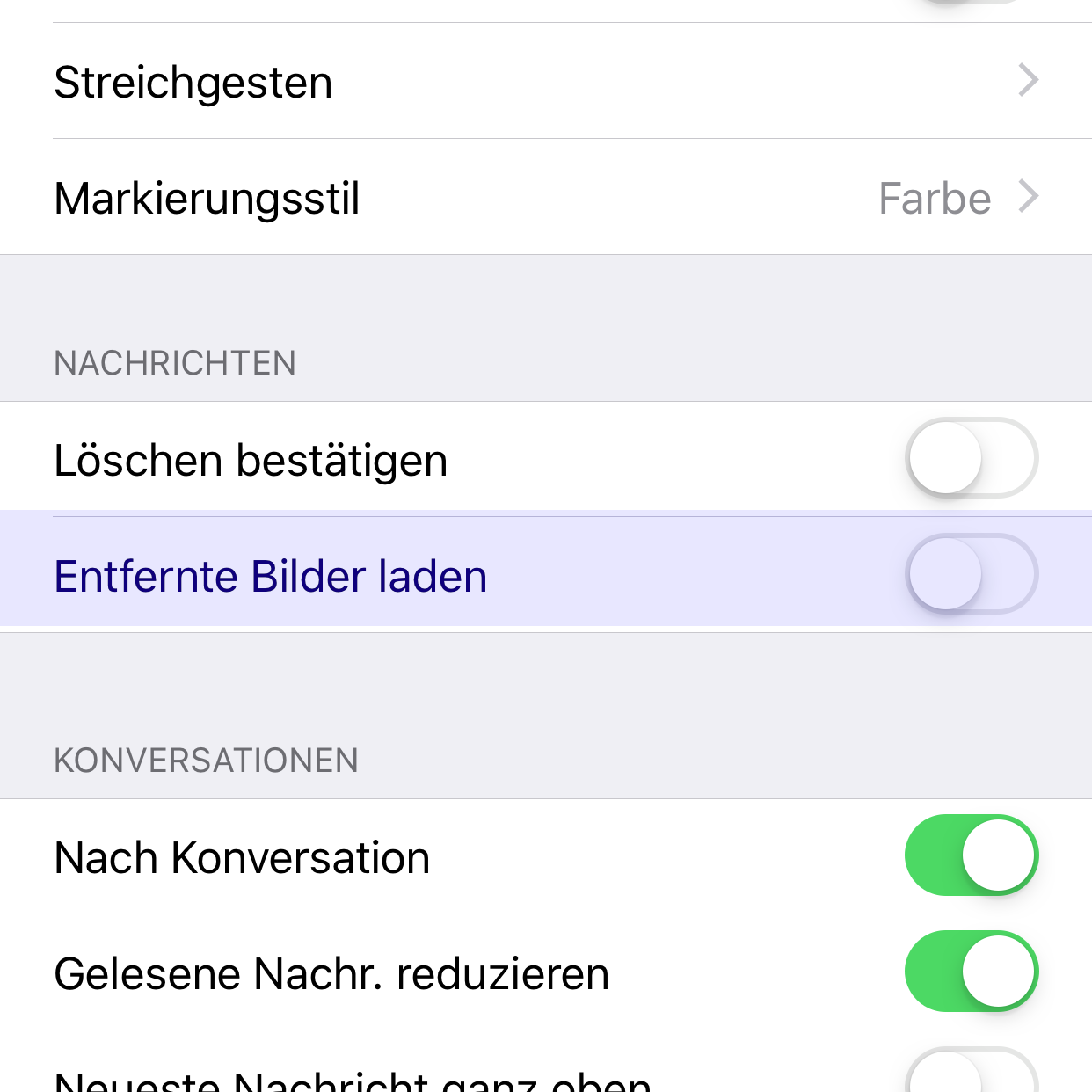 Screenshot Mail bei iOS