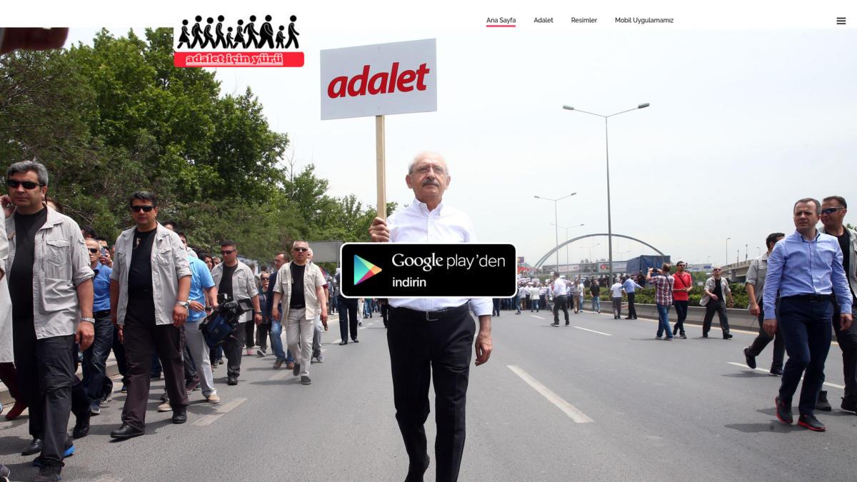 Screenshot der gefälschten Adalet-Website