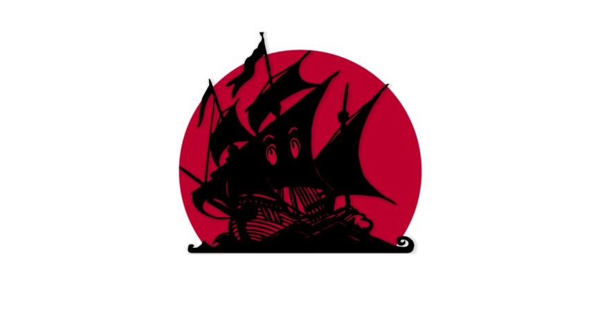 Ein Piratenschiff mit Mangaaugen auf dem Segel vor Japans roter untergehender Sonne