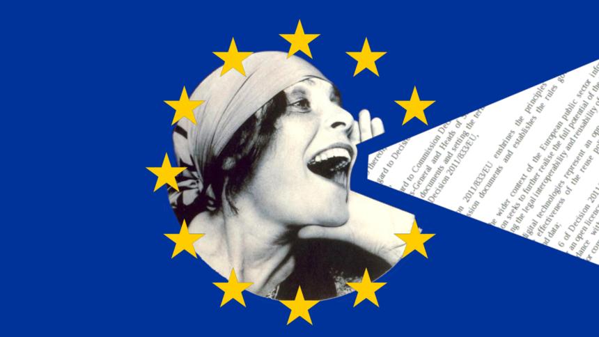 Frau in Schwarzweiß schreit einen Gesetzestext aus einem EU-Stern heraus