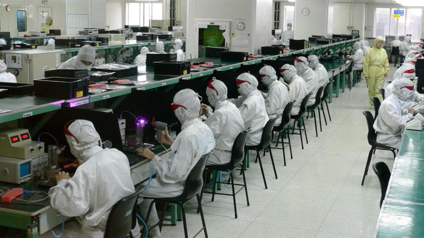 Arbeiter bei Foxconn in Shenzen