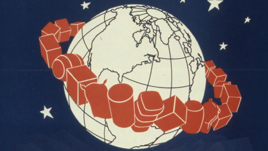Die Erde mit herumfliegenden Handelsgütern