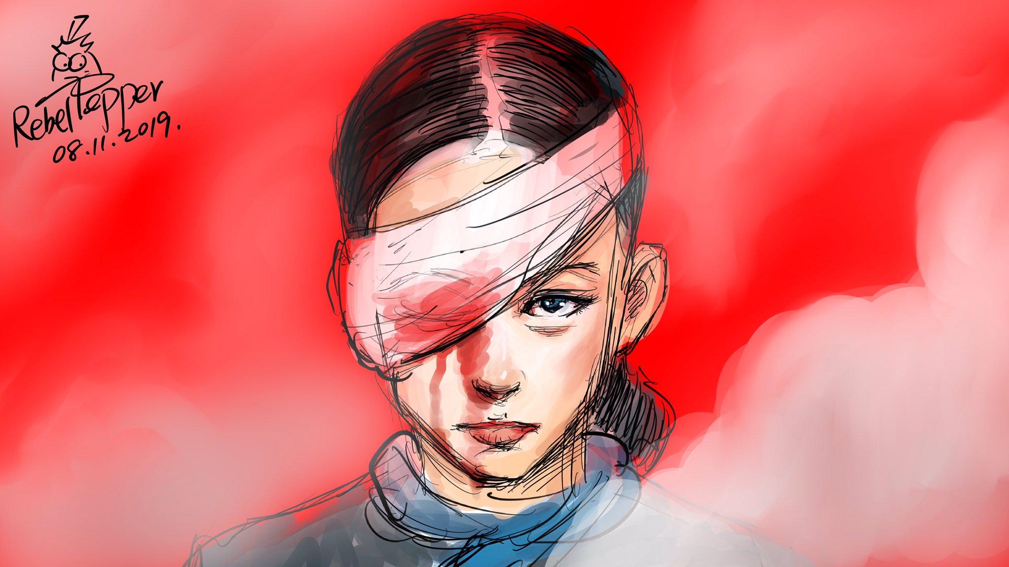 Zeichnung eier Frau, deren rechtes Augen mit einer blutdurchtränkten Augenbinde verbunden ist.