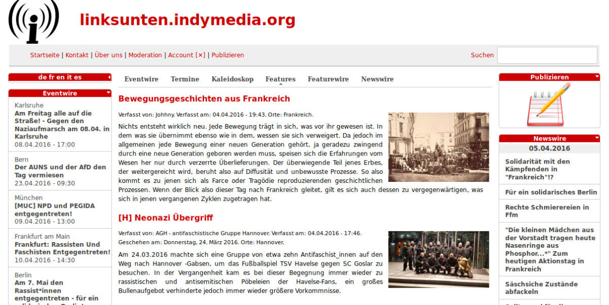 Linksunten Screenshot