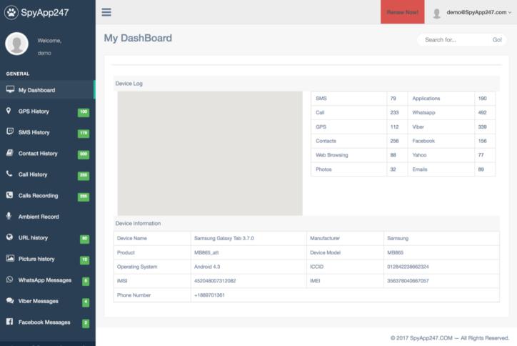 Screenshot of user interface