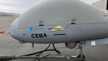 Die EU-Drohnen in ISland tragen das Emblem der EMSA und des portugiesischen Betreibers..