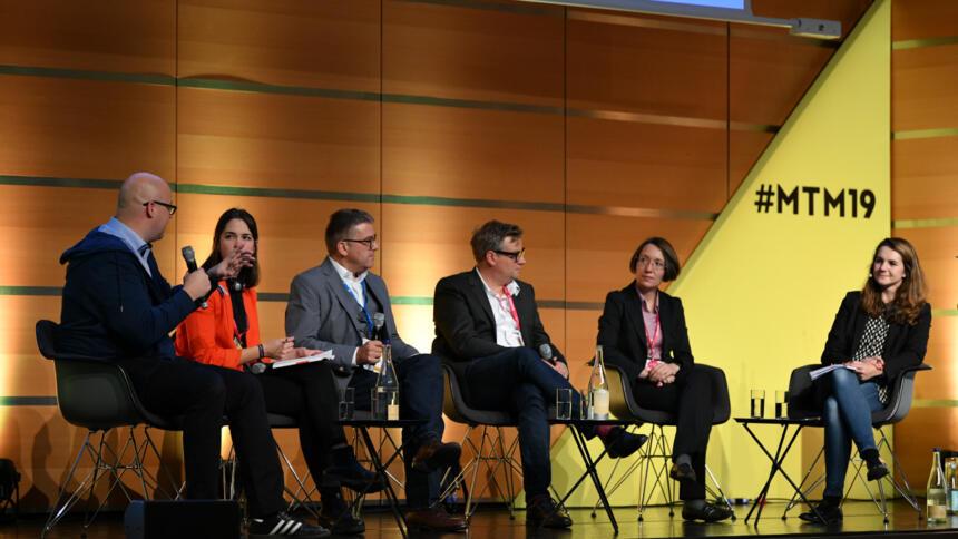"""TeilnehmerInnen des Panels zu """"digitaler Souveränität"""" bei den Medientagen München"""
