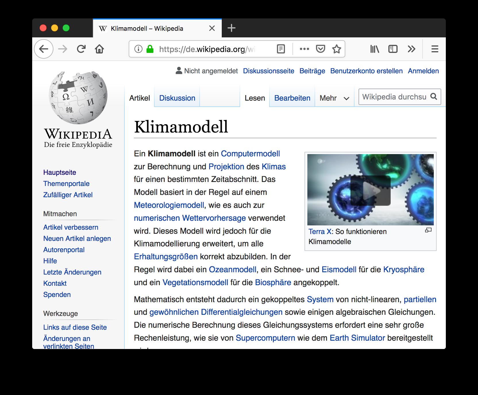 """Screenshot Wikipedia-Seite zu """"Klimamodell"""" mit eingebettetem Video von Terra X"""