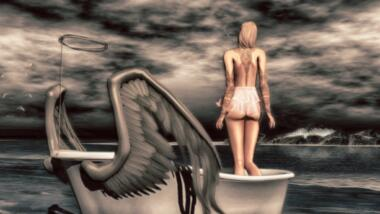 Comic-artige Frau steht rückwärts gewandt in einer Art beflügeltem Boot und betrachtet die Wetterverhältnisse