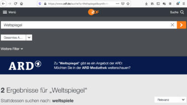 Screenshot von Suche nach ARD-Inhalt in der ZDF-Mediathek