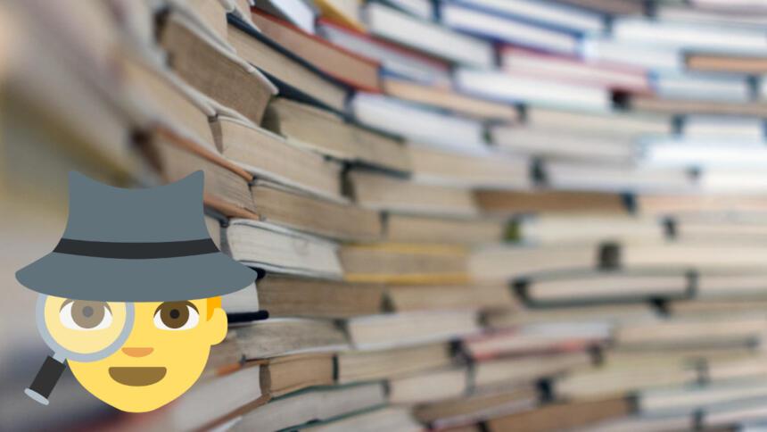 Detektiv-Emoji vor Bücherhintergrund