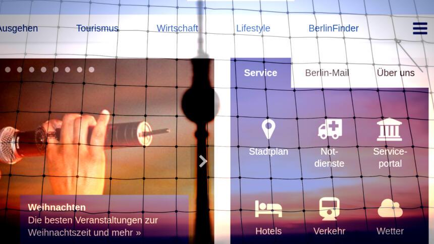 Fernsehturm, Gitter und Screenshot von berlin.de