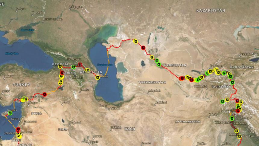 Landkarte: Alle 100 Meilen von der Polizei kontrolliert