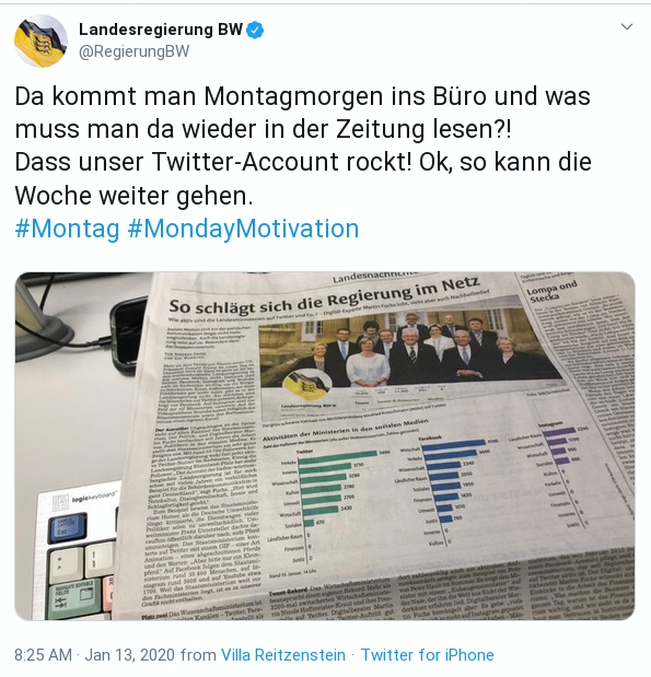 Ein Tweet der Landesregierung Baden-Württtemberg ist zu sehen, in dem sie beschreiben, wie sehr sie sich über den Erfolg ihrer Twitter-Accounts freuen.