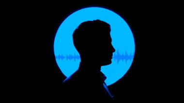 Collage aus Wellen einer Tonaufnahme und Schattensilhouette