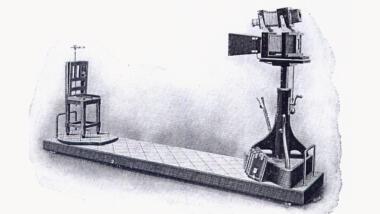 Bertillons Apparat zu Aufnahme signaletischer Porträts