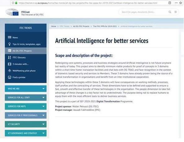 Artificial Intelligence for better services website