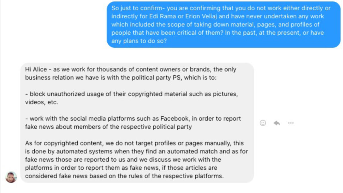 A conversation in Facebook Messenger between Aldor Nini and journalist Alice Taylor who writes for Exit News