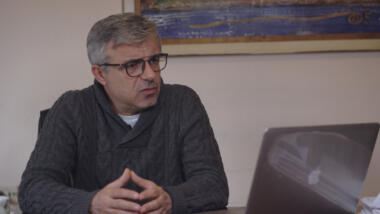 Neritan Sejamini, editor-in chief of Exit News, in his office in Tirana