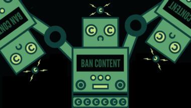 """Das Bild zeigt einen Comic eines Roboters, der andere Roboter, die genau aussehen wie er, an den Händen hält. Auf seiner Burst steht """"Ban content"""", also zu Deutsch """"Lösche Inhalte"""", seine Augen sind C-Symbole."""