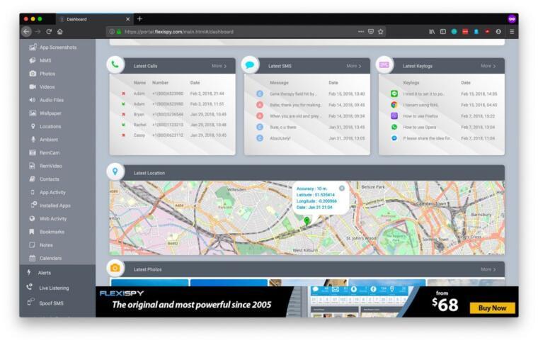 Das Dashboard der App FlexiSpy