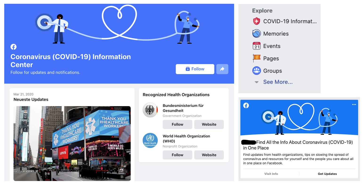 Hinweise von Facebook zum Coronavirus