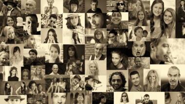 Collage aus vielen Gesichtern