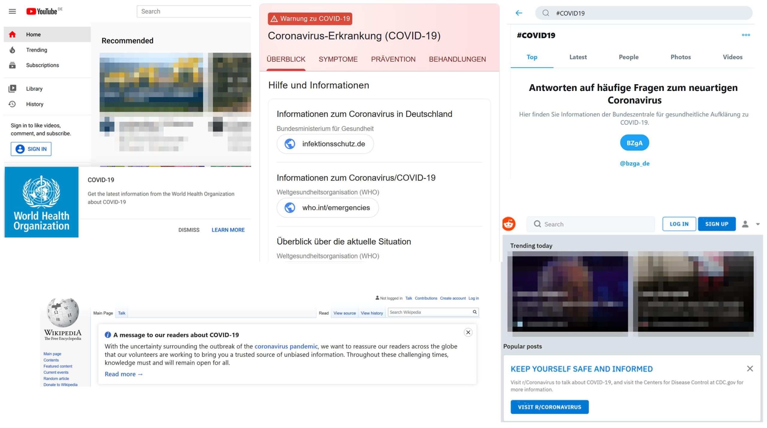 Screenshots von Corona-Hinweisen auf YouTube, Google, Twitter, Wikipedia, Reddit