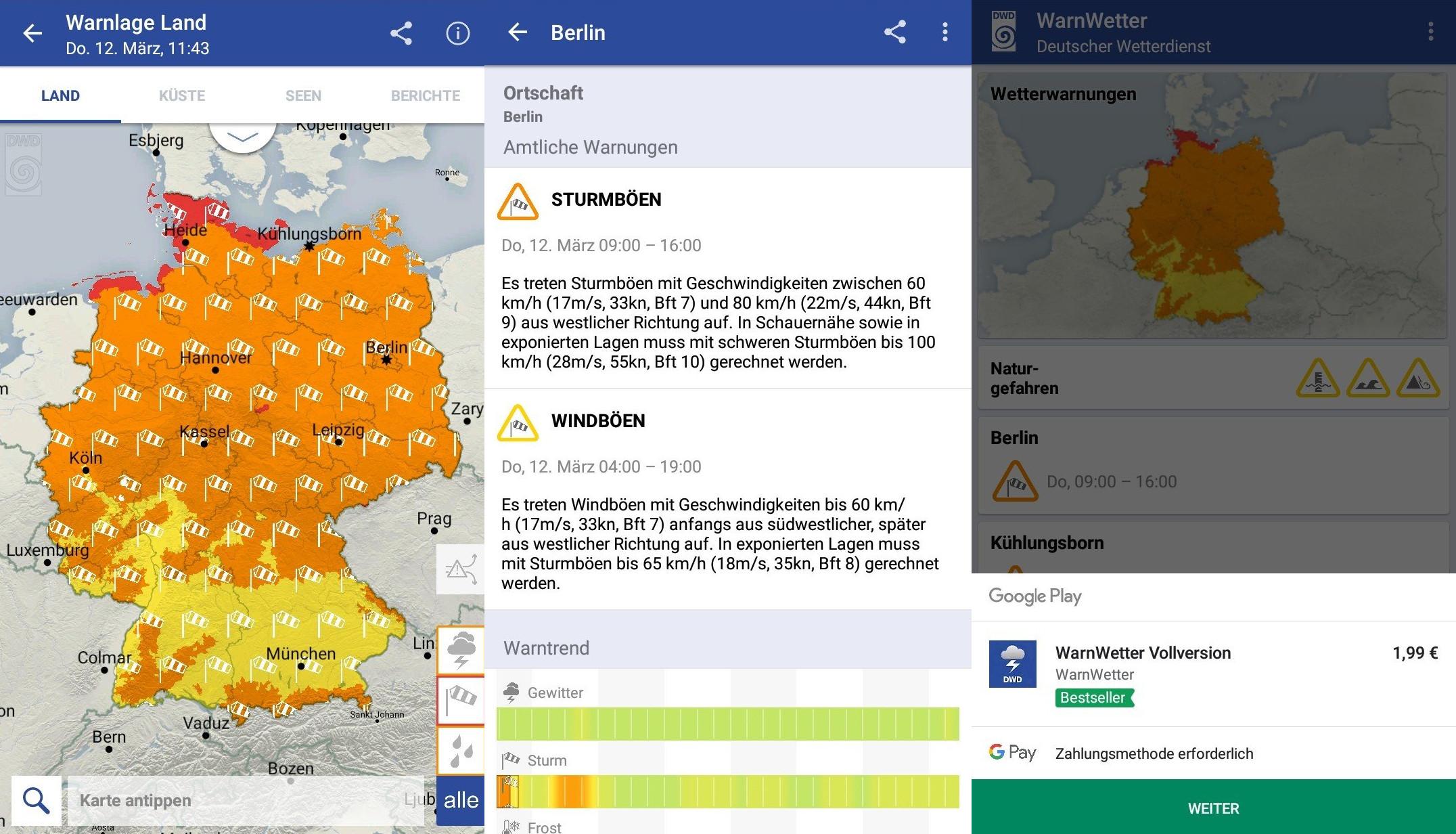 Screenshots der DWD-Warnwetter-App