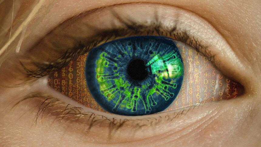 Fotomontage: Auge mit Coronavirus und 1en und 0en
