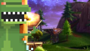Pixeldino auf Pixel-Fortnite-Hintergrund