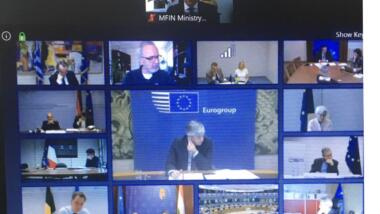 Videochatfenster von Eurogruppentreffen