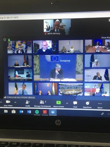 Screenshot of Eurogroup video chat