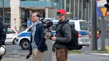 """AfD-Politiker Roger Beckamp und """"Fritzfeed""""-Gründer Christian Schäler 2019 bei einer Veranstaltung in Köln."""