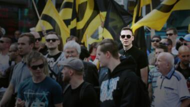 Fritzfeed-Autor Tim Beuter bei einem Aufmarsch der rechtsextremen Identitären Bewegung in Berlin im Juni 2017.