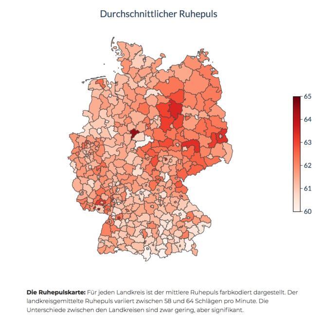 Karte der Ruhepulsdaten in Deutschland