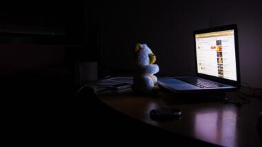 Teddy sitzt im Dunkeln vor Laptop