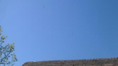 Baum, Dach und Himmel