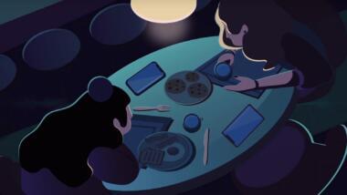 Illustrationen von zwei Menschen am Esstisch, neben ihnen ihre Telefone