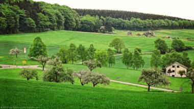 Felder Wiesen und ein Haus
