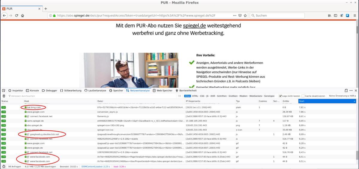 Screenshot der Registrierung auf Spiegel